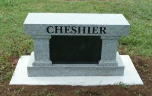 Back of 3 Foot Super Gray Cremation Bench